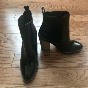 Aldo Patent Leather Boot w/ Wood Block Heel